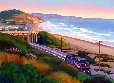Mount Rushmore Wall Art - Painting - Torrey Pines Commute by Mary Helmreich