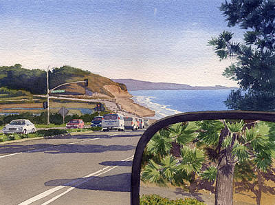 La Jolla Painting - Torrey Pines In Sideview Mirror by Mary Helmreich