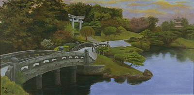 Art Print featuring the painting Torii Gate - Shinto Shrine by Rick Fitzsimons