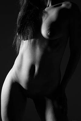 Nude Naked Female Nipple Women Breast Photograph - Torso In Black And White by Joe Kozlowski