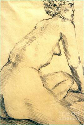 Abstract Forms Drawing - Torso Line Value Shapes Space by Ted Pollard