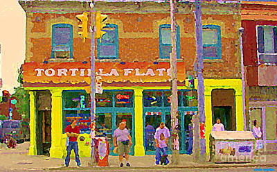 Painting - Tortilla Flats Tex Mex Restaurant Paintings Downtown Toronto Cafe Scenes Carole Spandau Art by Carole Spandau