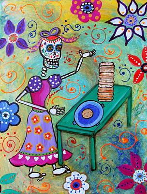 Painting - Tortillera Dia De Los Muertos by Pristine Cartera Turkus