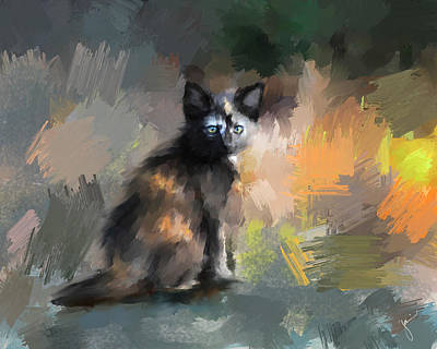 Painting - Tortoiseshell Kitten #1 by Jai Johnson