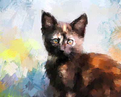 Painting - Tortoiseshell Kitten #2 by Jai Johnson