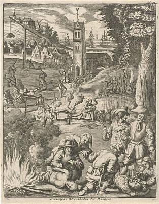 Torture By Pirates Under The Watchful Eye Of Soldiers Art Print by Jan Luyken And Jan Claesz Ten Hoorn