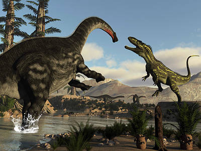 Photograph - Torvosaurus Dinosaur Fighting An by Elena Duvernay