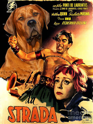 Painting - Tosa Inu Art Canvas Print - La Strada Movie Poster by Sandra Sij