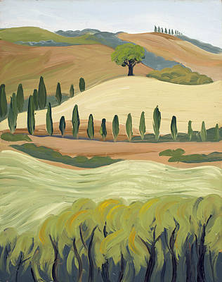 Raw Sienna Painting - Toscana by Mary Giacomini