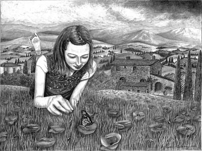 Poppies Field Drawing - Toscani Girl And Butterfly by Pierre Salsiccia