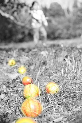 Tossing Apples In The Orchard Art Print