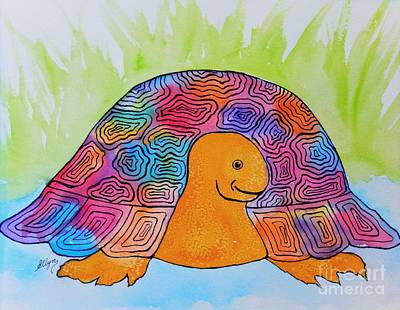 Painting - Totally Cool Turtle by Ellen Levinson