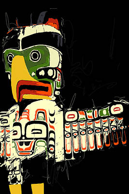 Vancouver Sketch Painting - Totem Pole 01 by Catf