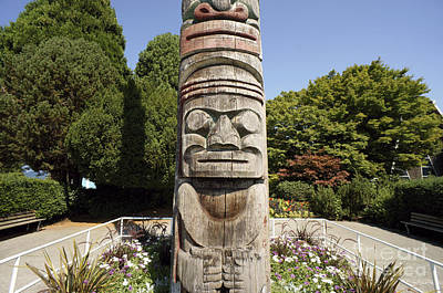 Photograph - Totem Pole Face Vancouver by John  Mitchell