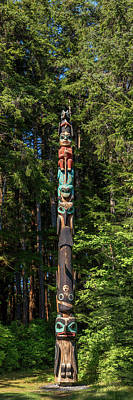 Totem Pole In Forest, Sitka, Southeast Art Print by Panoramic Images