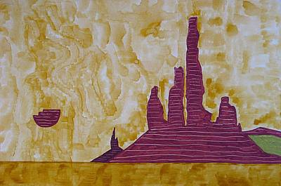 Painting - Totem Pole Monument Original Painting by Sol Luckman