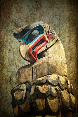 Indian Tribal Art Photograph - Totem Pole On Vancouver Island In The Pacific Northwest No. Ol 1400 4 by Randall Nyhof