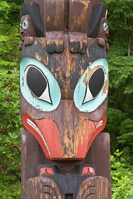 Totem Figure Photograph - Totem Pole, Vancouver, British by William Sutton