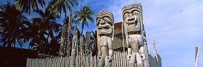 Tribal Art Photograph - Totem Poles, Puuhonua O Honaunau by Panoramic Images