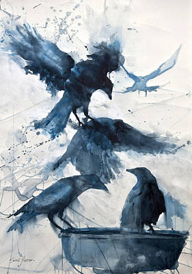Crow Painting - Totem  by Sarah Yeoman