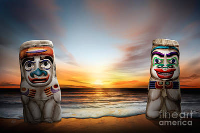 British Columbia Mixed Media - Totems At Sunset by Bedros Awak