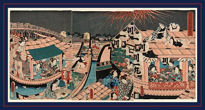 Flourishing Drawing - Toto Ryogokubashi Kawabiraki Hanei Zu, Flourishing by Utagawa, Toyokuni (1769 ? 1825), Japanese
