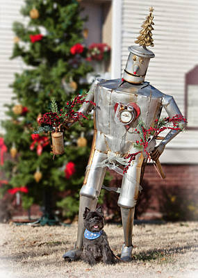 Brindle Photograph - Toto With The Tin Man by Heidi Marcinik