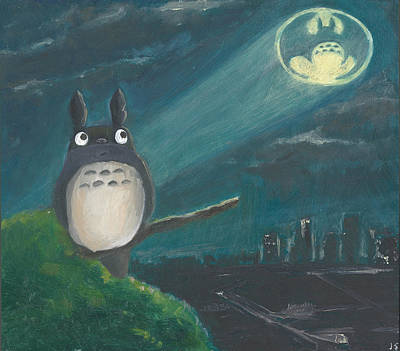 Painting - Totoro Batman And Los Angeles by Jessmyne Stephenson
