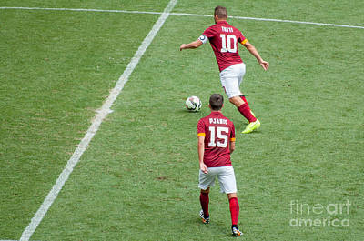 Soccer Photograph - Totti And Pjanic With As Roma by Amel Dizdarevic