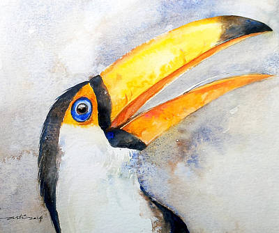 Yellow Beak Painting - Toucan  by Arti Chauhan