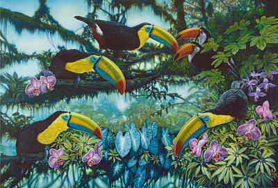 Toucan Painting - Toucan Jungle by Larry Taugher