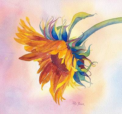 Sunflower Watercolor Painting - Touch Of Gold by Pat Yager