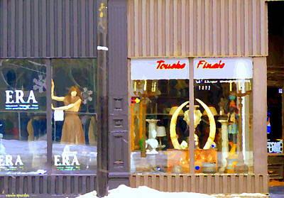 Finale Painting - Touche Finale Antiques And Era Vintage Wear Shops Rue Notre Dame Winter City Scenes Carole Spandau   by Carole Spandau