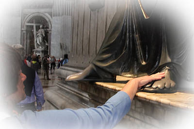 Photograph - Touching The Feet Of Statue Of St Peter - June 4  by Dwight Theall