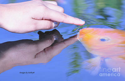 Touching The Koi.  Art Print by Debby Pueschel