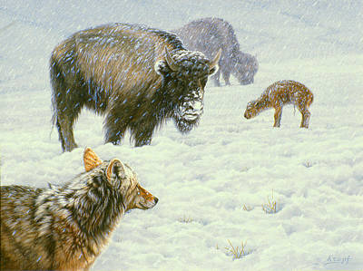 Buffalo Painting - Tough Day In May by Paul Krapf