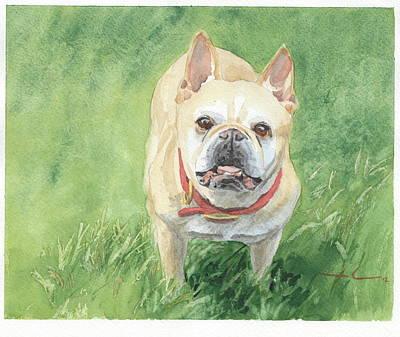 Tough Little Dog Watercolor Portrait Art Print by Mike Theuer