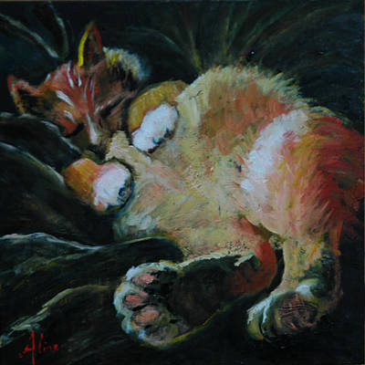 Orange Tabby Painting - Toughie by Aline Lotter