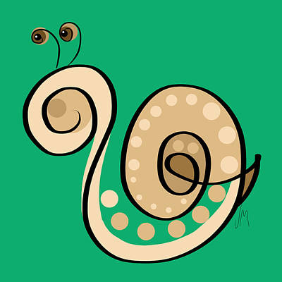 Child Digital Art - Thoughts And Colors Series Snail by Veronica Minozzi