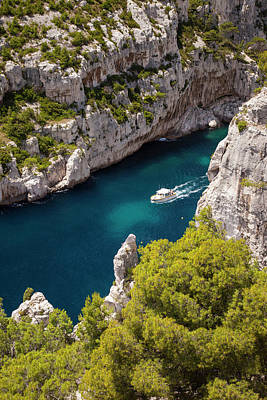 Tour Boat In The Calanques Near Cassis Print by Brian Jannsen