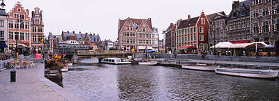 Belgium Photograph - Tour Boats Docked At A Harbor, Leie by Panoramic Images