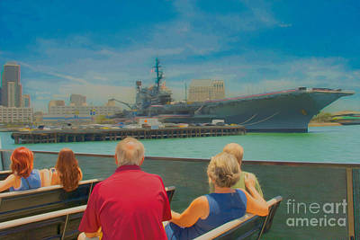 Digital Art - San Diego Bay Ferry Tour With The View Of The Uss Midway Museum by Claudia Ellis