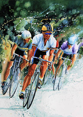 Watercolor Sports Painting - Tour De Force by Hanne Lore Koehler