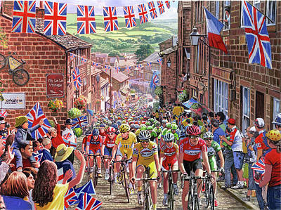 Bunting Painting - Tour De France , Hawarth, Yorkshire by Steve Crisp