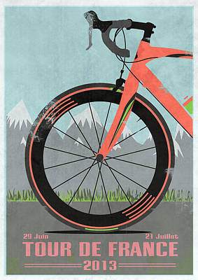 Fixie Digital Art - Tour De France Bike by Andy Scullion