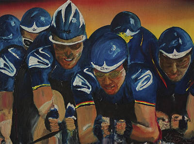 Painting - Tour De France Team Time Trial by Gregory Allen Page