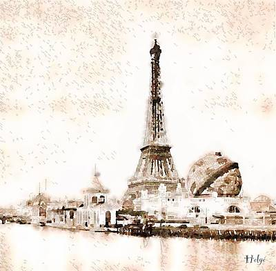 Paris Skyline Paintings - Tour Eiffel Exposition universelle 1900 by Helge