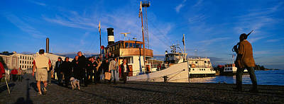 Helsinki Photograph - Tourboat Moored At A Dock, Helsinki by Panoramic Images