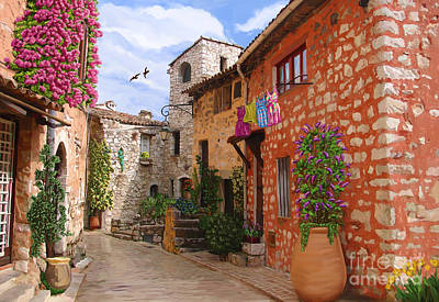 Art Print featuring the painting Tourettes Sur Loup France by Tim Gilliland