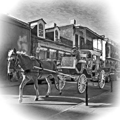 Carriage Photograph - Touring The French Quarter 2 Bw by Steve Harrington